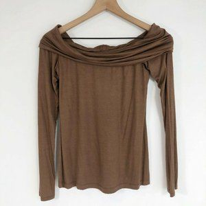 Solemio Off The Shoulder Top M Brown Long Sleeve F